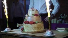 Torta de la celebración con los fuegos artificiales almacen de metraje de vídeo