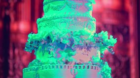 Torta de la celebración en la boda almacen de video