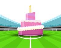 Torta de la celebración en el medio campo del vector del estadio de fútbol Imágenes de archivo libres de regalías