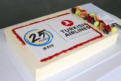 Torta de la celebración de Turkish Airlines Imagen de archivo libre de regalías
