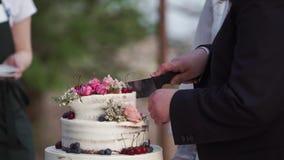 Torta de la celebraci?n de la boda almacen de metraje de vídeo