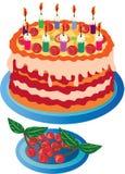 Torta de la cereza para su cumpleaños Fotos de archivo