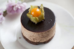Torta de la crema batida de chocolate Fotografía de archivo
