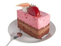 Torta de la crema batida de la fresa imagen de archivo