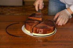 Torta de la crema batida de Praga cooking imagen de archivo