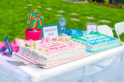 Torta de la fiesta de bienvenida al bebé Fotos de archivo libres de regalías