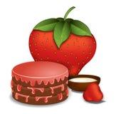 Torta de la fresa con crema Imágenes de archivo libres de regalías