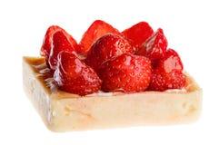 Torta de la fresa, delicioso, cuadrada, aislamiento Fotografía de archivo