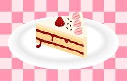 Torta de la fresa en la placa Imagenes de archivo