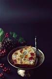 Torta de la fruta de la Navidad Foto de archivo