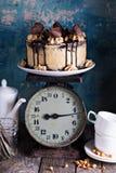 Torta de la mantequilla de cacahuete del chocolate con helar Imagen de archivo