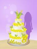 Torta de la mimosa para el día de las mujeres Imagenes de archivo