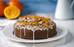 Torta de la naranja y de zanahoria Imagen de archivo