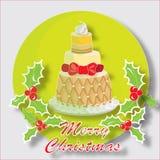 Torta de la Navidad con la escoba del ` s del carnicero Foto de archivo libre de regalías