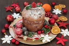 Torta de la Navidad del panettone del chocolate Imagenes de archivo
