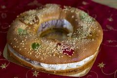 Torta de la Navidad (Roscon de Reyes) Fotos de archivo
