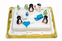 Torta de la pasta de azúcar del aniversario con tema del invierno Imagen de archivo