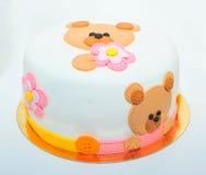 Torta de la pasta de azúcar del oso de peluche imagen de archivo