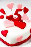 Torta de la pasta de azúcar para el día de tarjetas del día de San Valentín Fotografía de archivo