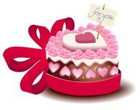 Torta de la tarjeta del día de San Valentín Fotos de archivo libres de regalías