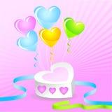Torta de la tarjeta del día de San Valentín con los globos y las cintas del colorfull Imagen de archivo libre de regalías