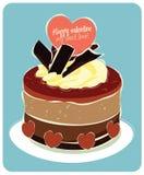 Torta de la tarjeta del día de San Valentín del chocolate Imagen de archivo libre de regalías
