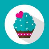 Torta de la tarjeta del día de San Valentín, icono plano con la sombra larga, vector Fotos de archivo libres de regalías