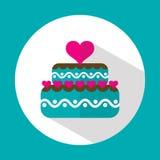 Torta de la tarjeta del día de San Valentín, icono plano con la sombra larga, vector Imagen de archivo