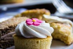 Torta de la taza con la flor rosada fotografía de archivo libre de regalías