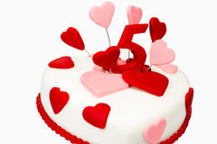 Torta de las tarjetas del día de San Valentín Fotografía de archivo