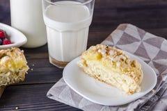 Torta de levadura con el pudín y el ruibarbo Imagen de archivo libre de regalías