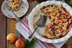 Torta de maçã orgânica caseiro com a airela no fundo de madeira Sobremesa do fruto pronto para comer Fotografia de Stock Royalty Free