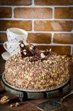 Torta de miel con las nueces y el chocolate rallado Imágenes de archivo libres de regalías