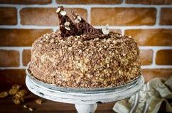 Torta de miel con las nueces y el chocolate rallado Imagen de archivo libre de regalías