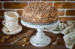 Torta de miel con las nueces y el chocolate rallado Foto de archivo libre de regalías