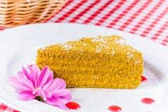 Torta de miel en la placa blanca Fotos de archivo libres de regalías