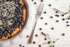 Torta de mirtilo com bagas frescas e leite condensado imagem de stock royalty free