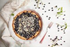 Torta de mirtilo com bagas frescas e leite condensado imagens de stock royalty free