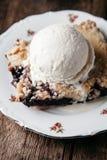 Torta de mirtilo fresca caseiro com gelado no fundo rústico Imagem de Stock Royalty Free