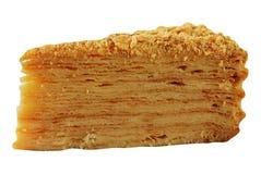 Torta de Napoleon aislada en blanco foto de archivo