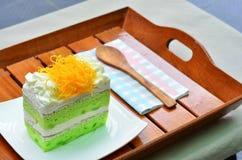 Torta de Pandan, el topdressing de fios de ovos Foto de archivo