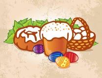 Torta de Pascua con los huevos ?olored Imagen de archivo libre de regalías