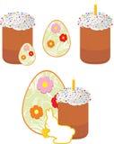 Torta de Pascua y huevos de Pascua aislados en el blanco ilustración del vector