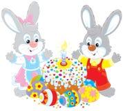 Torta de Pascua y huevos pintados libre illustration