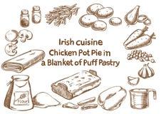 Torta de potenciômetro da galinha em uma cobertura do ingre da pastelaria da tacada leve Fotografia de Stock Royalty Free