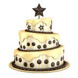 Torta de tres pisos con crema de la vainilla y del chocolate representación 3d Imagen de archivo