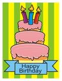 Torta de tres pisos con las velas Foto de archivo libre de regalías