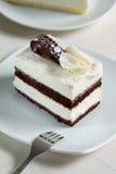 Torta del biscotto del cioccolato sulla zolla bianca Fotografia Stock