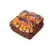 Torta del brownie en el fondo blanco, galleta fotos de archivo