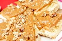 Torta del carmel de la nuez Fotografía de archivo